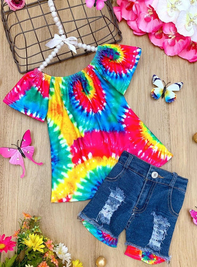 Girls Twirl Through Spring Top and Shorts Set