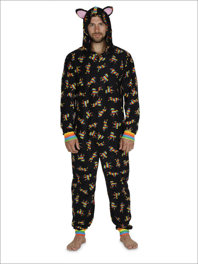 Gay Pride Mens Rainbow Unicorn Fleece One Piece Union Suit Onesie Pajama Costume - L/XL