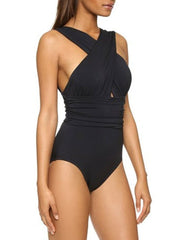 Women's Wrapped Halter One Piece Swimsuit
