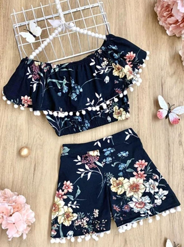 Girl Floral Pom Pom Ruffle Top and Shorts Set - Black / 2T/3T - Girls Spring Casual Set