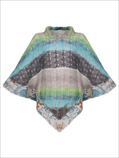 Girl Knit Turtle Neck Crochet Tasseled Poncho Top - Blue / 2T/3T - Girls Poncho