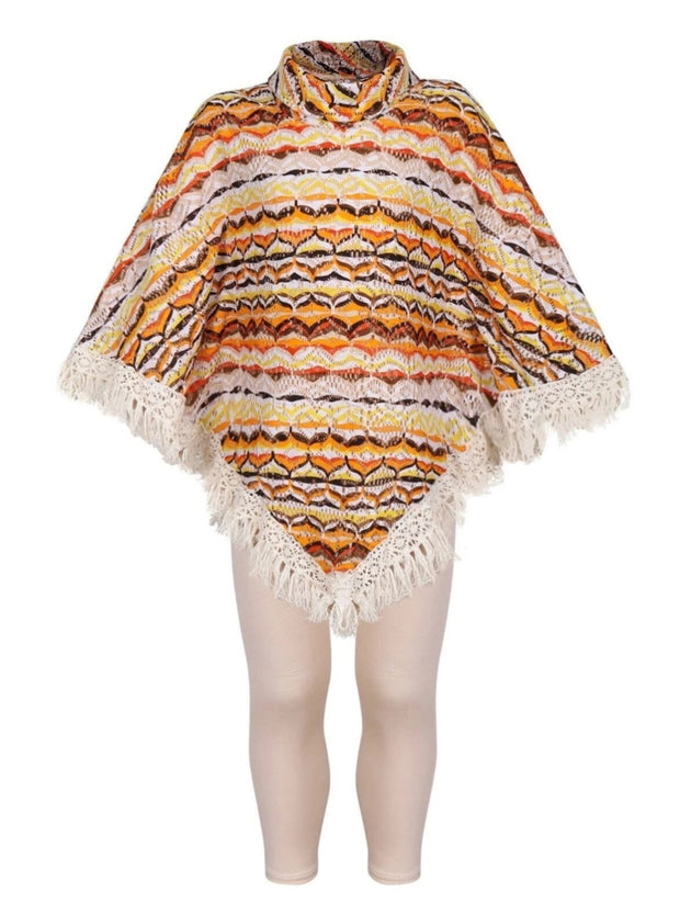 Girl Knit Turtle Neck Crochet Tasseled Poncho Top & Matching Leggings Set - Multicolor / 2T/3T - Girls Fall Casual Set