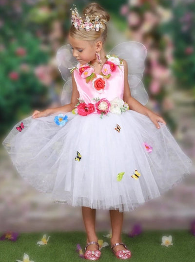 Girl Pink Flower Midsummer Nights Dream Inspired Fairy Costume Dress - Pink / 3T - Girls Halloween Costume