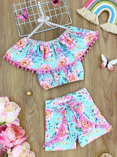 Girl Pom Pom Ruffle Top and Overlay Front Tie Shorts Set - Mint / 2T/3T - Girls Spring Casual Set