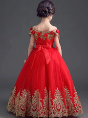 Girl Red Off The Shoulder Sequined Lace Applique Flower Embellished Flower Girl Party Dress - Girls Spring Dressy Dress