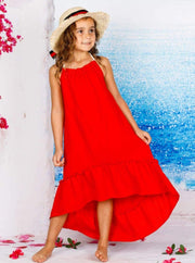 Girl Sleeveless Halter Strap Hi-Low Ruffle Maxi Dress - Red / 4T/5Y - Girls Spring Casual Dress