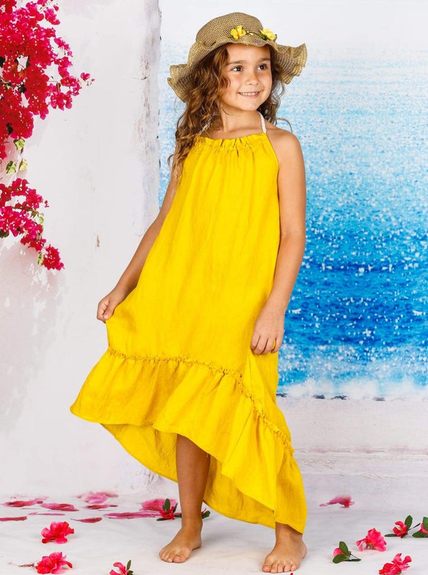 Girl Sleeveless Halter Strap Hi-Low Ruffle Maxi Dress - Yellow / 4T - Girls Spring Casual Dress