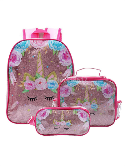 Girls 12 Iridescent Floral Unicorn Preschool Backpack with Matching Lunchbox & Pencil Case - Pink - Girls Backpacks