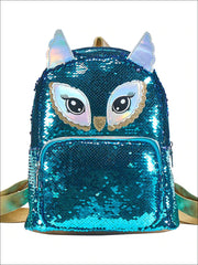 Girls 12 Iridescent Sequins Animal Themed Backpack (Unicorn Bear Owl) - Blue - Girls Backpack