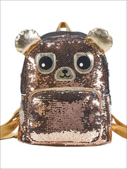 Girls 12 Iridescent Sequins Animal Themed Backpack (Unicorn Bear Owl) - Brown - Girls Backpack