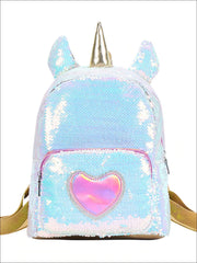 Girls 12 Iridescent Sequins Animal Themed Backpack (Unicorn Bear Owl) - White - Girls Backpack