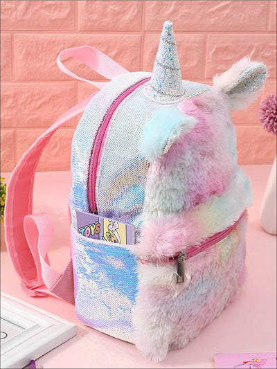 Girls 12 Sequin Unicorn Plush Backpack - 12 - Girls Backpack