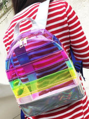 Girls 12 Striped Mid-Size Transparent Backpack ( 2 Color Options) - Girls Backpacks