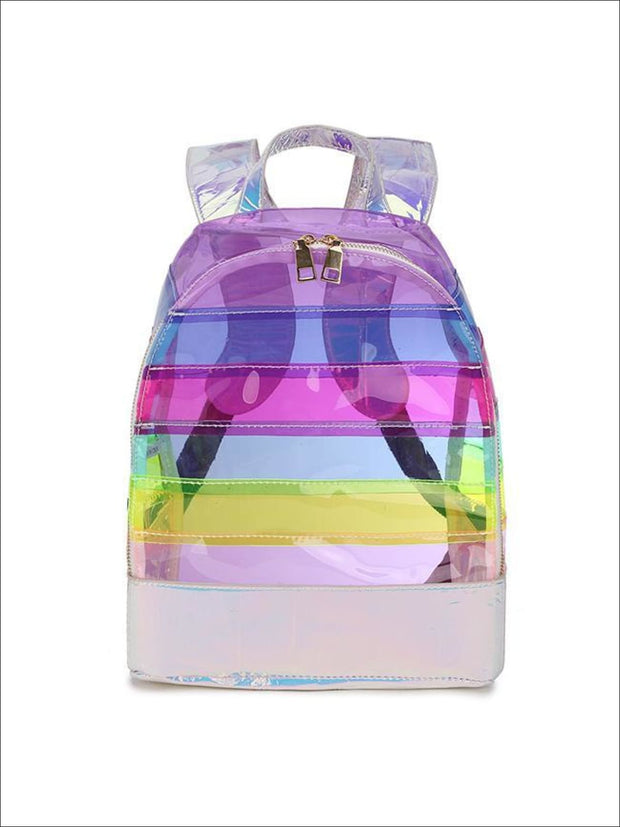 Girls 12 Striped Mid-Size Transparent Backpack ( 2 Color Options) - Purple - Girls Backpacks