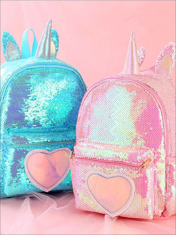 Girls 13 Unicorn Sequins Backpack With Unicorn Horn And Heart - Girls Backpack
