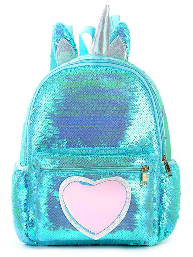Girls 13 Unicorn Sequins Backpack With Unicorn Horn And Heart - Blue - Girls Backpack