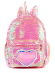 Girls 13 Unicorn Sequins Backpack With Unicorn Horn And Heart - Pink - Girls Backpack