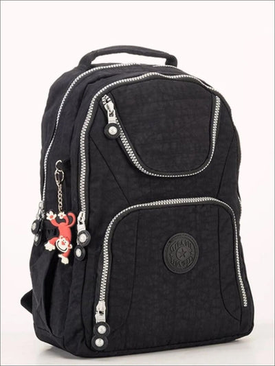 Girls 14.5 Kipling Inspired Nylon Backpacks - Black - Girls Backpack
