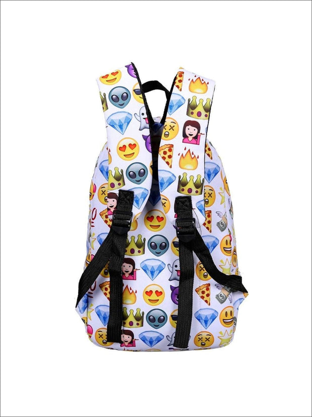 Girls 14 Emoji Print School Backpack + Pencil Case Set (4 colors) - Backpack