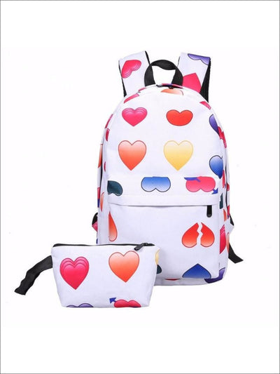 Girls 14 Emoji Print School Backpack + Pencil Case Set (4 colors) - Multicolor / 14.56 x 9.84 x 5.9 inch - Backpack