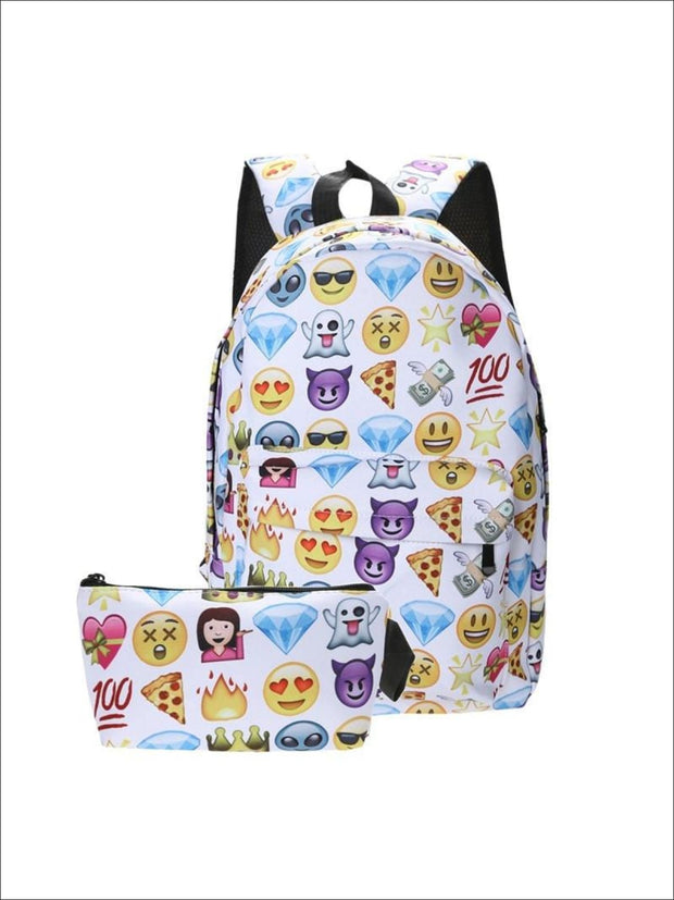 Girls 14 Emoji Print School Backpack + Pencil Case Set (4 colors) - Purple / 14.56 x 9.84 x 5.9 inch - Backpack