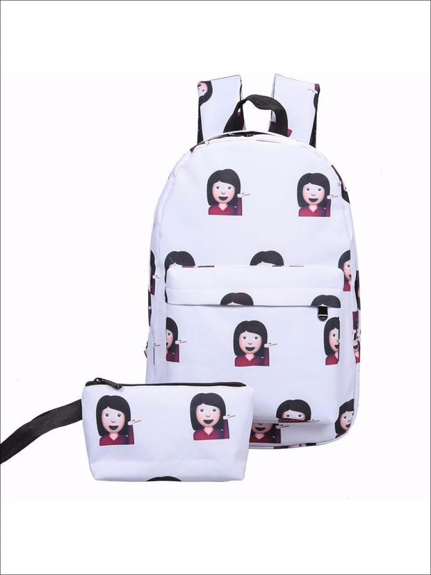 Girls 14 Emoji Print School Backpack + Pencil Case Set (4 colors) - White / 14.56 x 9.84 x 5.9 inch - Backpack
