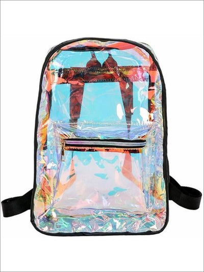 Girls 14 Mid-Size Transparent Holographic Backpack ( 2 Color Options) - Black - Girls Backpacks