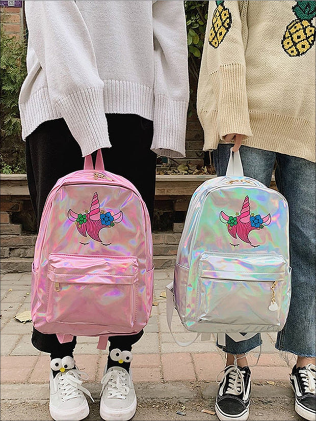 Girls 14 Waterproof Holographic Unicorn Backpack - Girls Backpack