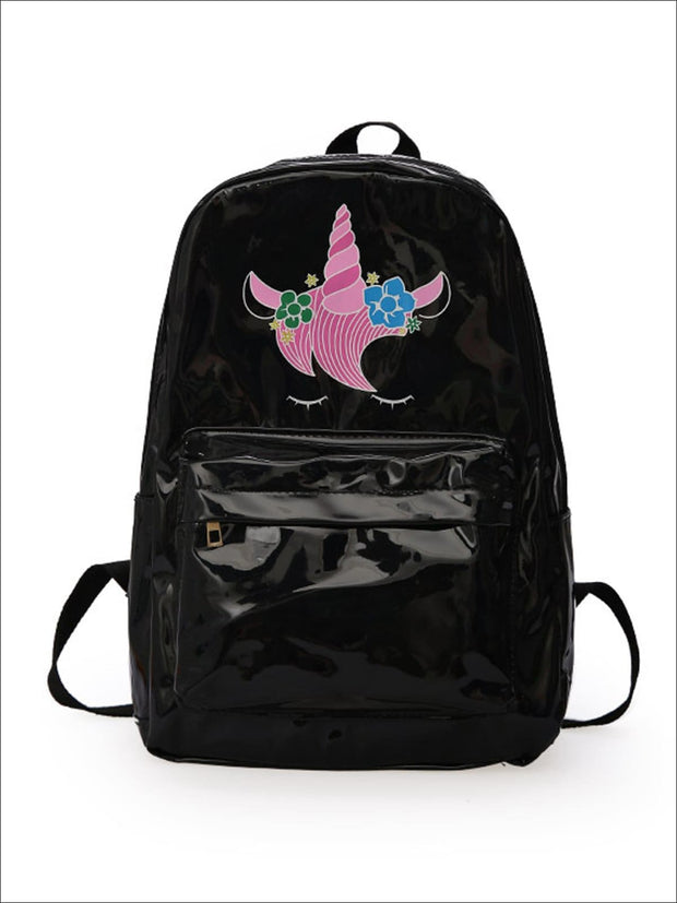 Girls 14 Waterproof Holographic Unicorn Backpack - Black - Girls Backpack