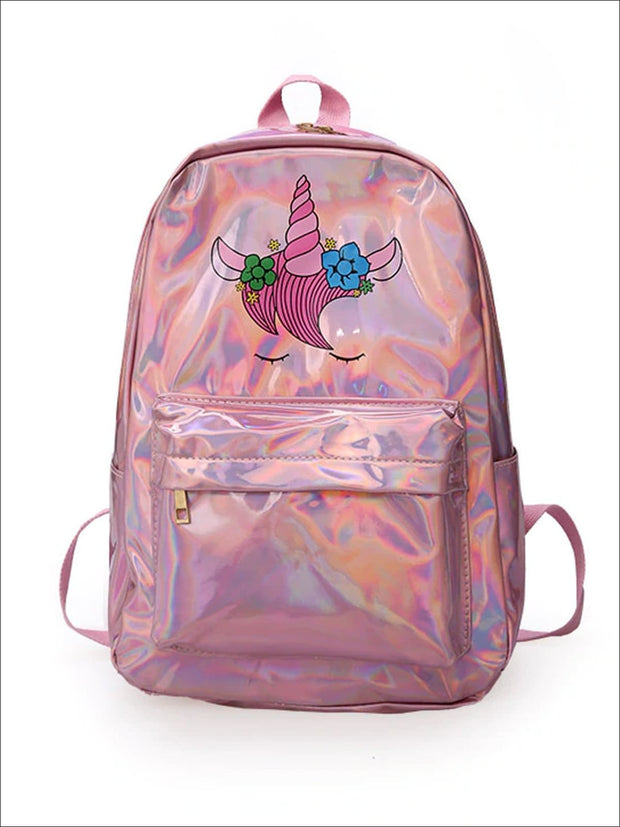 Girls 14 Waterproof Holographic Unicorn Backpack - Pink - Girls Backpack
