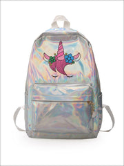 Girls 14 Waterproof Holographic Unicorn Backpack - White - Girls Backpack