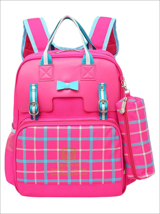 Girls 15.5 Plaid Print Waterproof Backpack - Hot Pink - Girls Backpack
