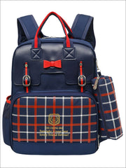 Girls 15.5 Plaid Print Waterproof Backpack - Navy - Girls Backpack