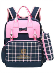 Girls 15.5 Plaid Print Waterproof Backpack - Pink - Girls Backpack