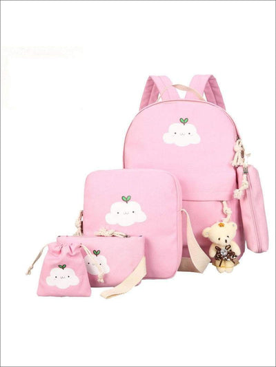 Girls 15 Cloud Print Backpack 4pc Set - Pink - Girls Backpacks