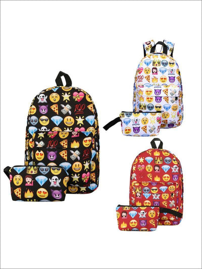 Girls 15 Emoji Print Backpack with Matching Pencil Case - Girls Backpack