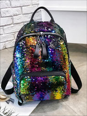 Girls 15 Multi-Color Sparkle Sequin Backpack - Girls Backpack