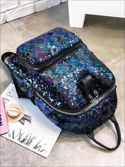 Girls 15 Multi-Color Sparkle Sequin Backpack - Blue - Girls Backpack