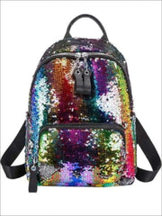 Girls 15 Multi-Color Sparkle Sequin Backpack - Multicolor - Girls Backpack