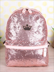 Girls 15 Sequined Backpack with Crown Applique - Girls Backpack