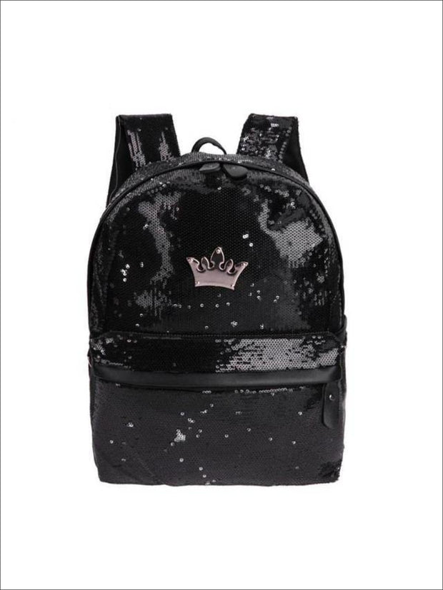 Girls 15 Sequined Backpack with Crown Applique - Black - Girls Backpack