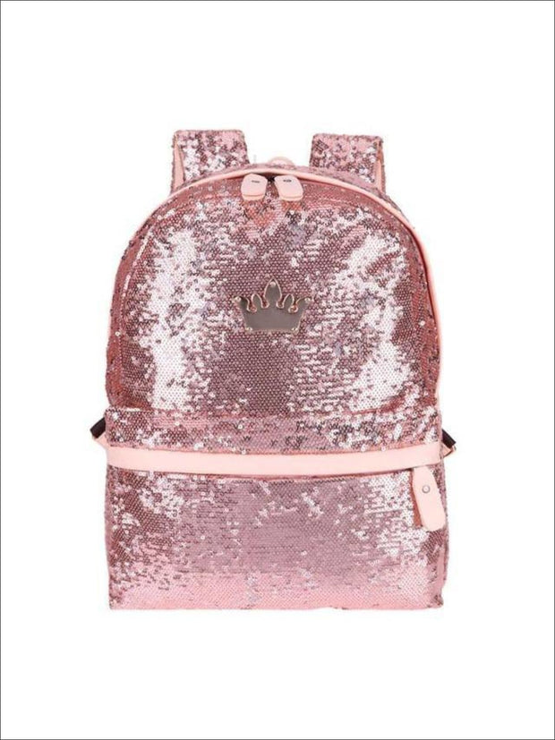 Girls 15 Sequined Backpack with Crown Applique - Pink - Girls Backpack