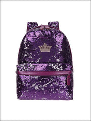 Girls 15 Sequined Backpack with Crown Applique - Purple - Girls Backpack