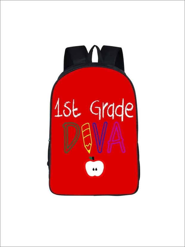 Girls 16.5 1st Grade DIVA Backpack ( 2 colors) - Red / 16.5 in - Girls Backpack
