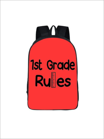 Girls 16.5 1st Grade Rules Backpack ( 5 colors) - Red / 16.5 in - Girls Backpack