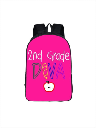 Girls 16.5 2nd Grade DIVA Backpack (2 colors) - Hot Pink / 16.5 in - Girls Packpack