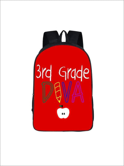Girls 16.5 3rd Grade DIVA Backpack ( 2 colors) - Red / 16.5 in - Girls Backpack