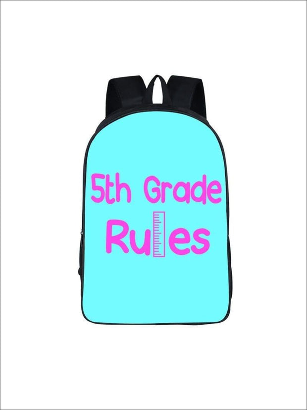 Girls 16.5 5th Grade Rules Backpack ( 5 colors) - Aqua / 16.5 in - Girls Backpack