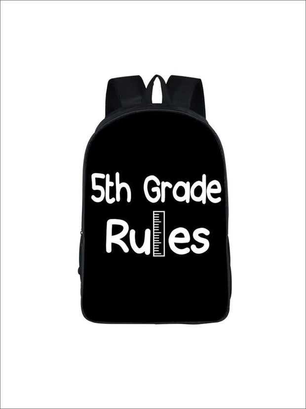 Girls 16.5 5th Grade Rules Backpack ( 5 colors) - Black / 16.5 in - Girls Backpack