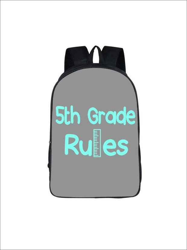 Girls 16.5 5th Grade Rules Backpack ( 5 colors) - Grey / 16.5 in - Girls Backpack